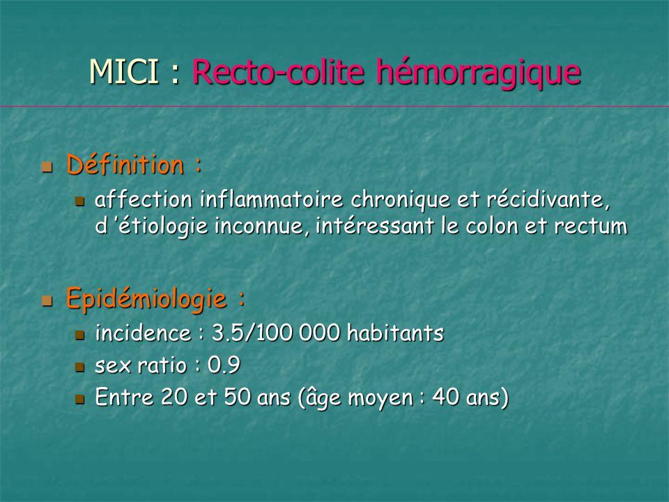 MICI : Recto-colite hémorragique Définition : Définition : affection inflammatoire chronique et récidivante, d étiologie inconnue, intéressant le colo