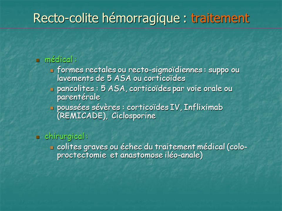 Recto-colite hémorragique : traitement médical : médical : formes rectales ou recto-sigmoïdiennes : suppo ou lavements de 5 ASA ou corticoïdes formes