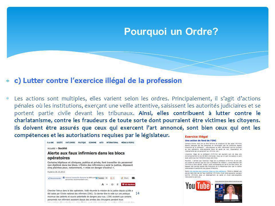 c) Lutter contre lexercice illégal de la profession Les actions sont multiples, elles varient selon les ordres. Principalement, il sagit dactions pén