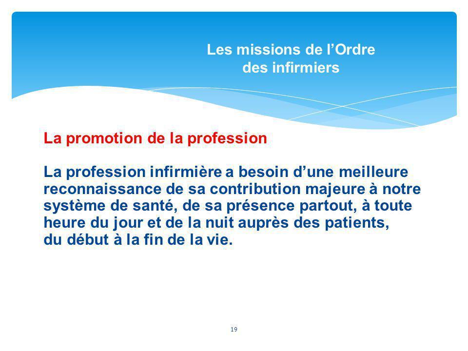 La promotion de la profession La profession infirmière a besoin dune meilleure reconnaissance de sa contribution majeure à notre système de santé, de
