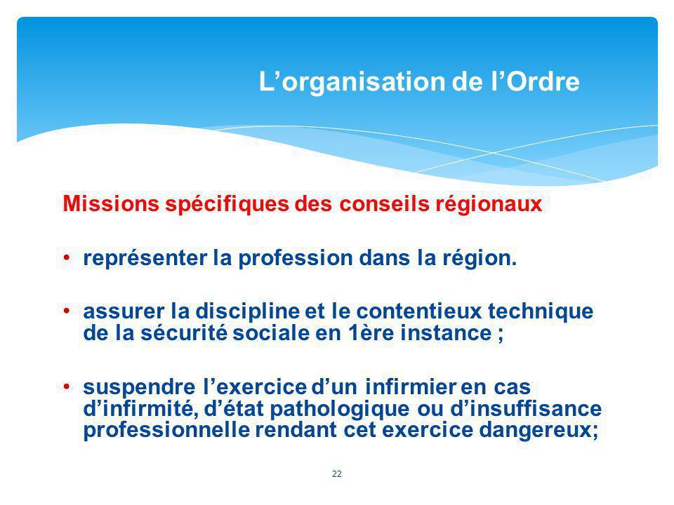Missions spécifiques des conseils régionaux représenter la profession dans la région. assurer la discipline et le contentieux technique de la sécurité
