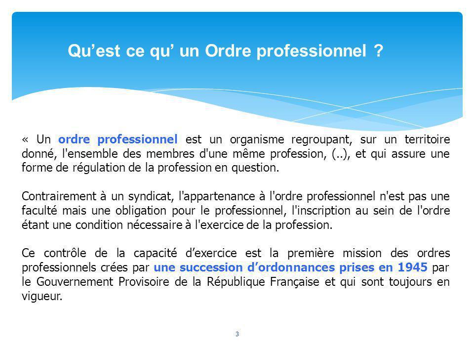 3 « Un ordre professionnel est un organisme regroupant, sur un territoire donné, l'ensemble des membres d'une même profession, (..), et qui assure une