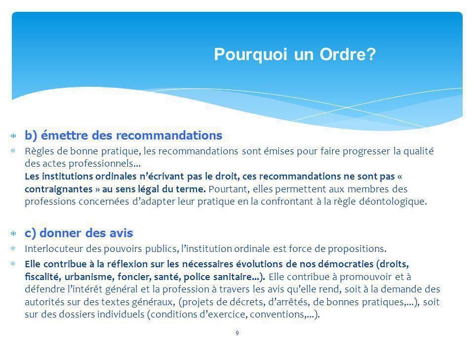 b) émettre des recommandations Règles de bonne pratique, les recommandations sont émises pour faire progresser la qualité des actes professionnels
