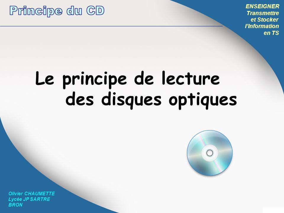 ENSEIGNER Transmettre et Stocker lInformation en TS Olivier CHAUMETTE Lycée JP SARTRE BRON Plus simple daccès: http://www.commentcamarche.net/contents/pc/cdrom.php3 Cours très complet et technique de Jean-Philippe Muller : www.louis-armand-mulhouse.eu/btsse/acrobat-cours/optiq.pdf En anglais mais très complet: http://hyperphysics.phy-astr.gsu.edu/hbase/audio/cd.html Pour aller plus loin…