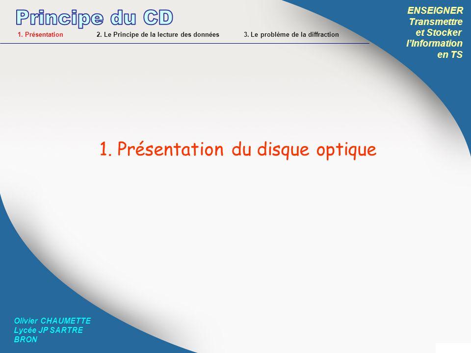 ENSEIGNER Transmettre et Stocker lInformation en TS Olivier CHAUMETTE Lycée JP SARTRE BRON Donc les creux sont les « 0 » et les plats sont les « 1 » .