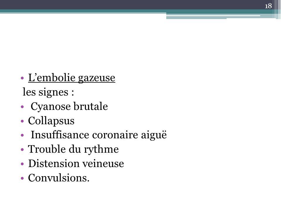 18 Lembolie gazeuse les signes : Cyanose brutale Collapsus Insuffisance coronaire aiguë Trouble du rythme Distension veineuse Convulsions.
