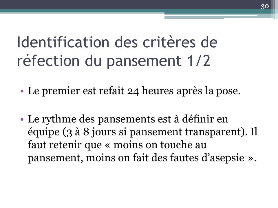30 Identification des critères de réfection du pansement 1/2 Le premier est refait 24 heures après la pose. Le rythme des pansements est à définir en