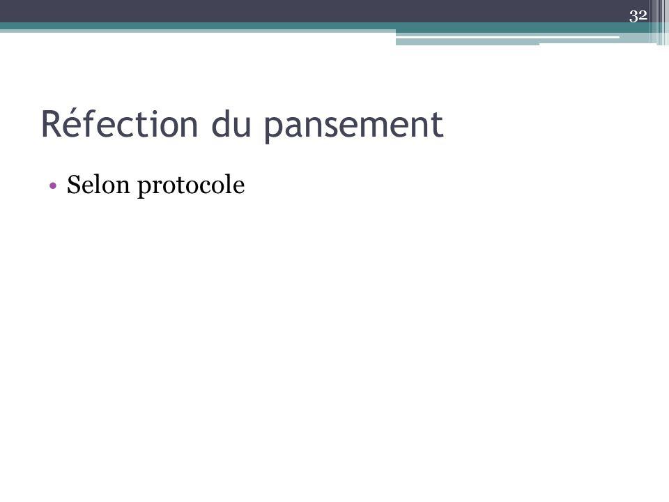 32 Réfection du pansement Selon protocole