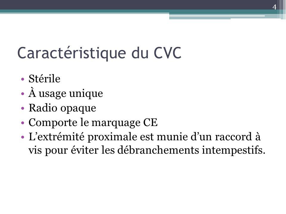 4 Caractéristique du CVC Stérile À usage unique Radio opaque Comporte le marquage CE Lextrémité proximale est munie dun raccord à vis pour éviter les
