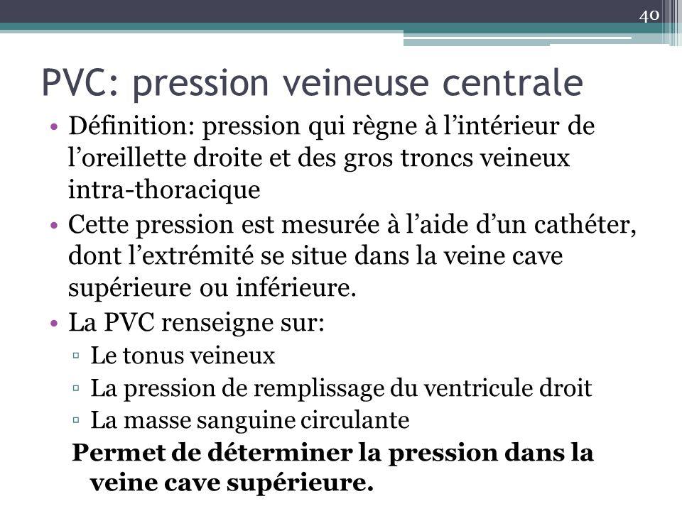 40 PVC: pression veineuse centrale Définition: pression qui règne à lintérieur de loreillette droite et des gros troncs veineux intra-thoracique Cette