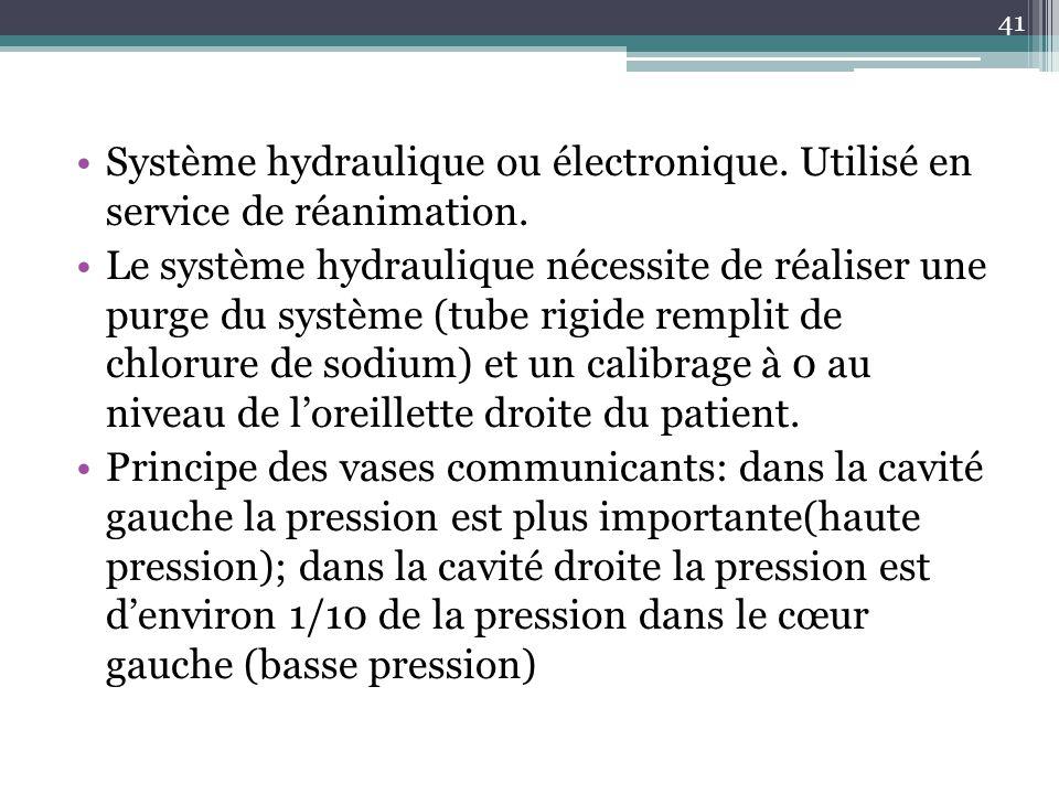 41 Système hydraulique ou électronique. Utilisé en service de réanimation. Le système hydraulique nécessite de réaliser une purge du système (tube rig