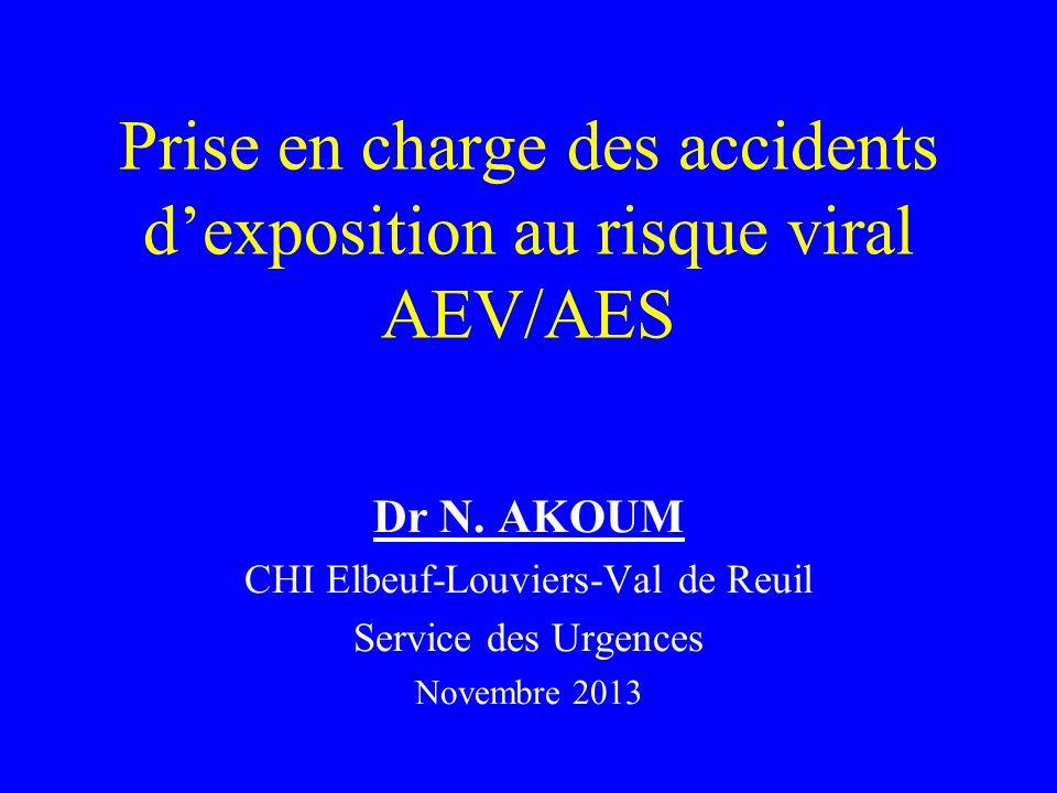 Prise en charge des accidents dexposition au risque viral AEV/AES Dr N. AKOUM CHI Elbeuf-Louviers-Val de Reuil Service des Urgences Novembre 2013