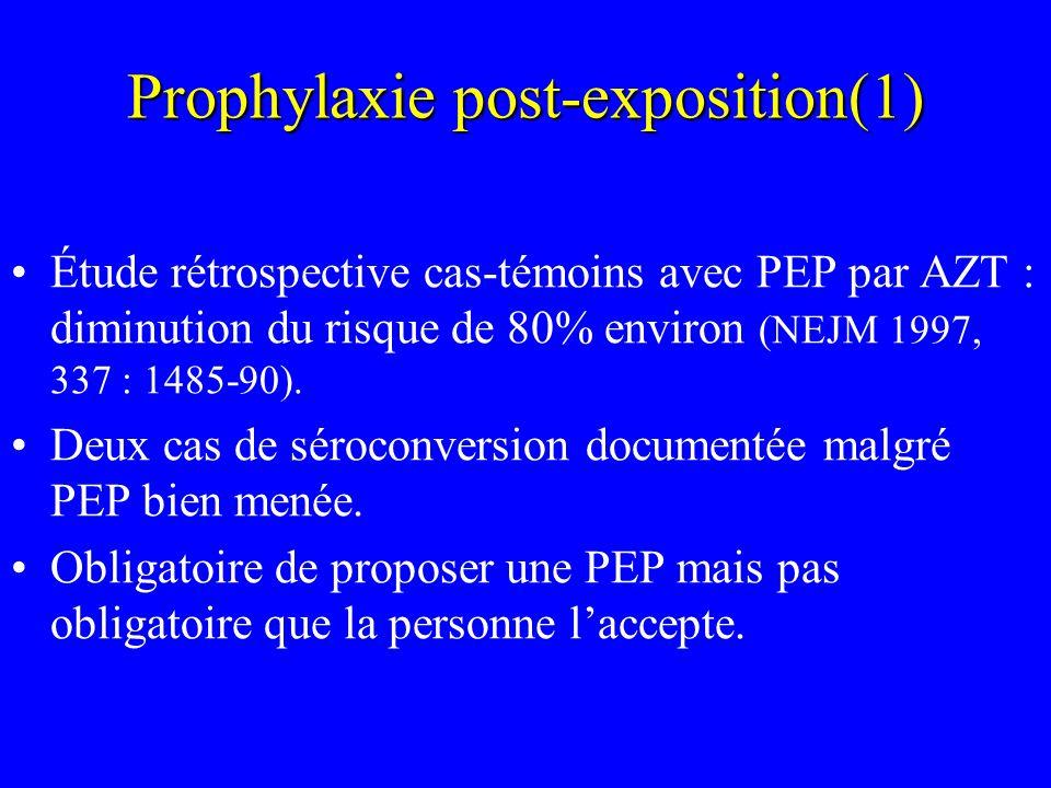 Prophylaxie post-exposition(1) Étude rétrospective cas-témoins avec PEP par AZT : diminution du risque de 80% environ (NEJM 1997, 337 : 1485-90). Deux