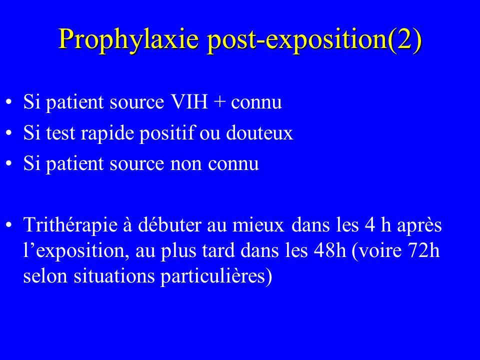 Prophylaxie post-exposition(2) Si patient source VIH + connu Si test rapide positif ou douteux Si patient source non connu Trithérapie à débuter au mi