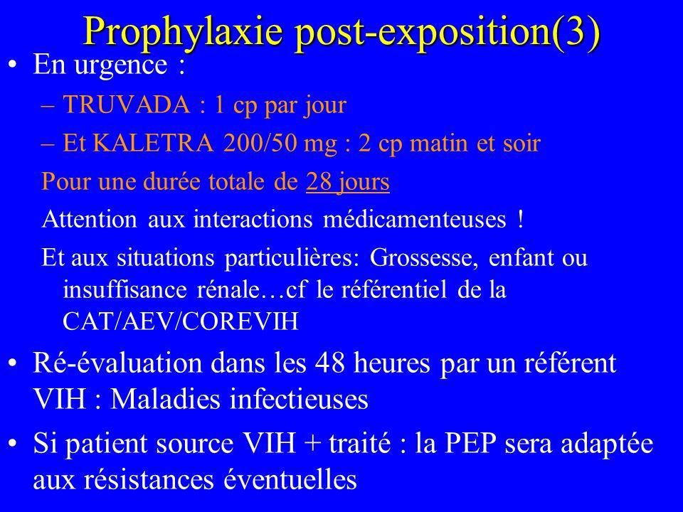 Prophylaxie post-exposition(3) En urgence : –TRUVADA : 1 cp par jour –Et KALETRA 200/50 mg : 2 cp matin et soir Pour une durée totale de 28 jours Atte