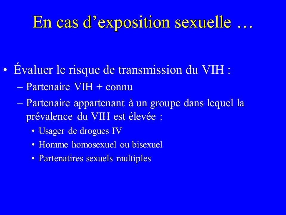 En cas dexposition sexuelle … Évaluer le risque de transmission du VIH : –Partenaire VIH + connu –Partenaire appartenant à un groupe dans lequel la pr