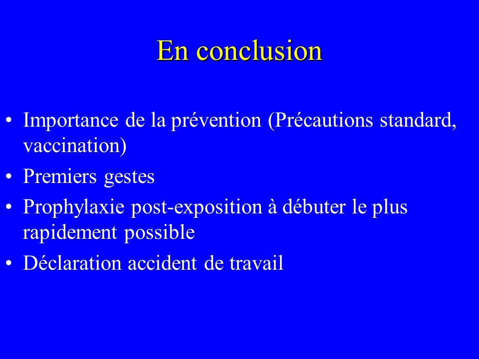 En conclusion Importance de la prévention (Précautions standard, vaccination) Premiers gestes Prophylaxie post-exposition à débuter le plus rapidement