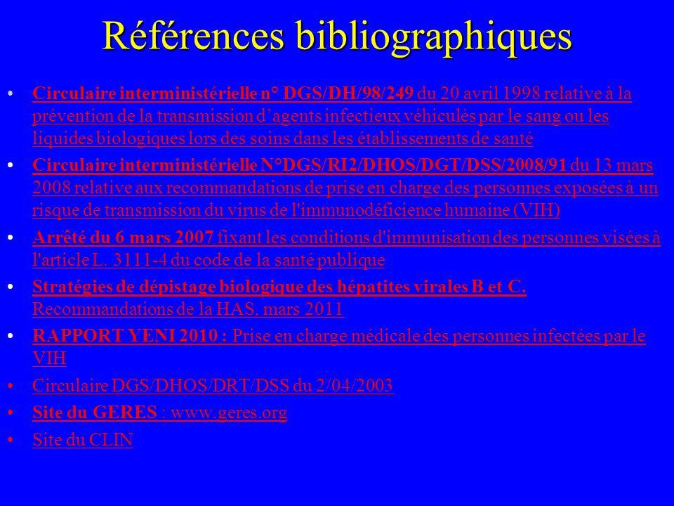Références bibliographiques Circulaire interministérielle n° DGS/DH/98/249 du 20 avril 1998 relative à la prévention de la transmission dagents infect