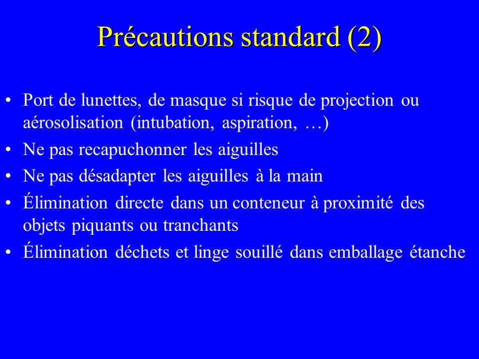 Précautions standard (2) Port de lunettes, de masque si risque de projection ou aérosolisation (intubation, aspiration, …) Ne pas recapuchonner les ai