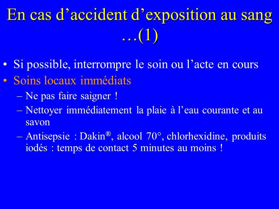 En cas daccident dexposition au sang …(2) Évaluer le risque infectieux du patient source –Identifier le patient source .