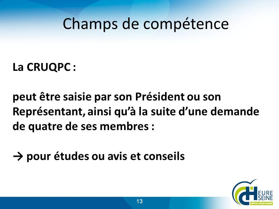 13 Champs de compétence La CRUQPC : peut être saisie par son Président ou son Représentant, ainsi quà la suite dune demande de quatre de ses membres : pour études ou avis et conseils