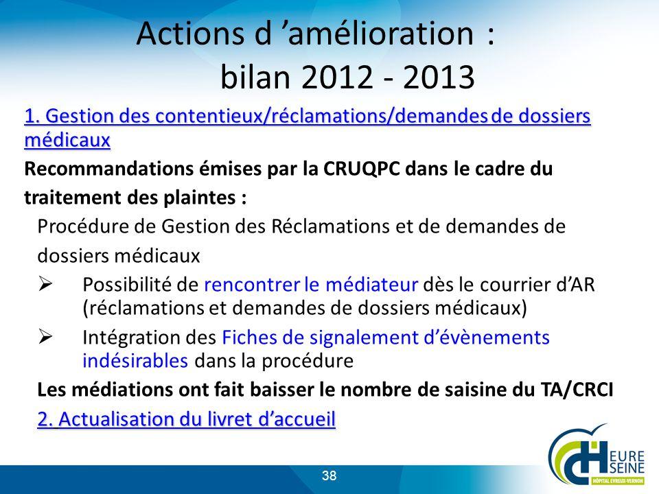 38 Actions d amélioration : bilan 2012 - 2013 1.