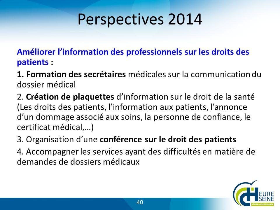 40 Perspectives 2014 Améliorer linformation des professionnels sur les droits des patients : 1.