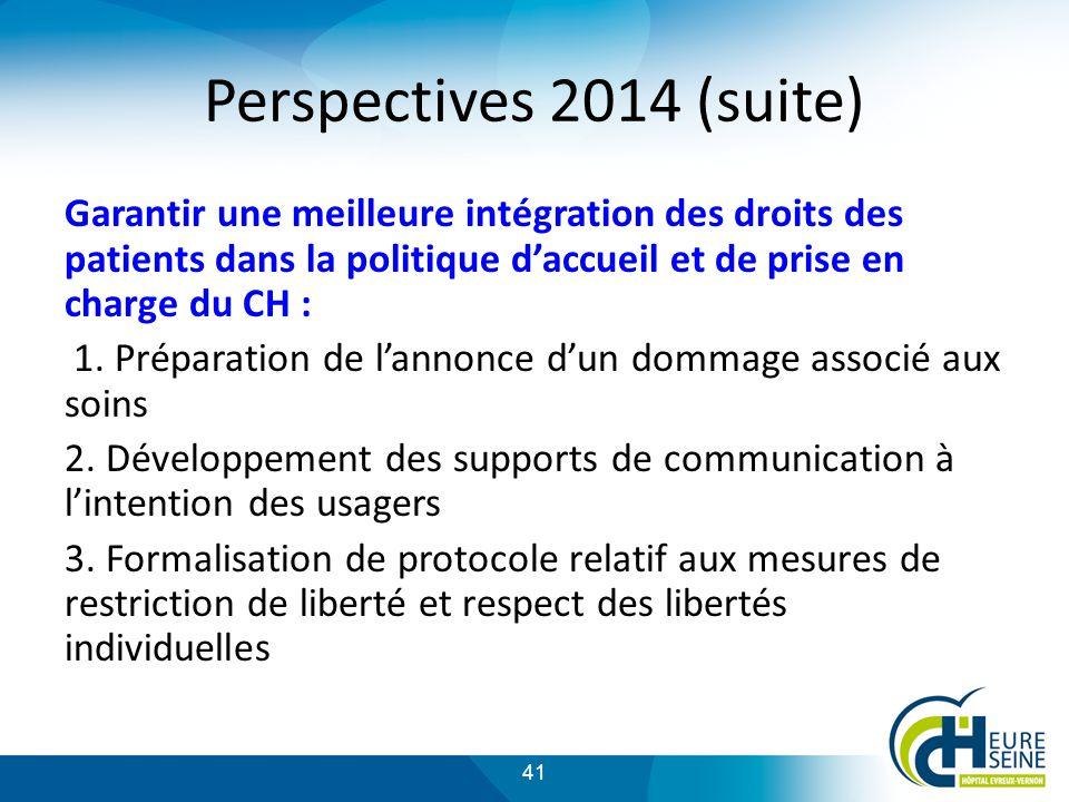 41 Perspectives 2014 (suite) Garantir une meilleure intégration des droits des patients dans la politique daccueil et de prise en charge du CH : 1.