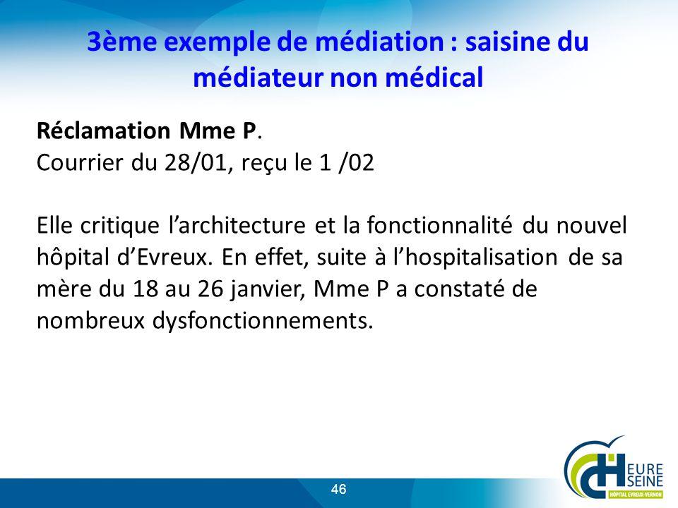 46 3ème exemple de médiation : saisine du médiateur non médical Réclamation Mme P.