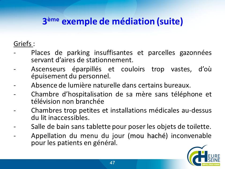 47 3 ème exemple de médiation (suite) Griefs : -Places de parking insuffisantes et parcelles gazonnées servant daires de stationnement.