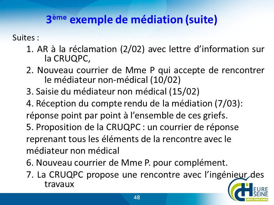 48 3 ème exemple de médiation (suite) Suites : 1.