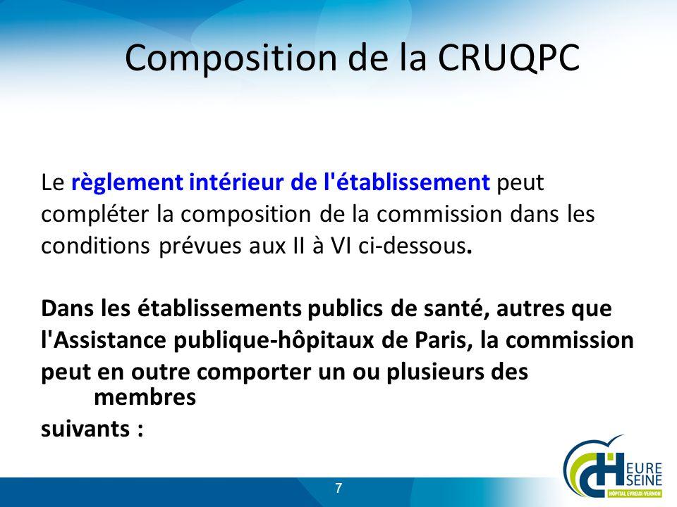 7 Composition de la CRUQPC Le règlement intérieur de l établissement peut compléter la composition de la commission dans les conditions prévues aux II à VI ci-dessous.