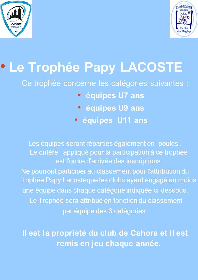 Le Trophée Papy LACOSTE Ce trophée concerne les catégories suivantes : équipes U7 ans équipes U9 ans équipes U11 ans Les équipes seront réparties égal