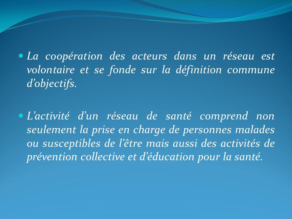 La coopération des acteurs dans un réseau est volontaire et se fonde sur la définition commune dobjectifs.