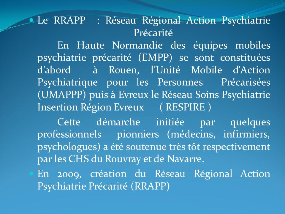 Le RRAPP : Réseau Régional Action Psychiatrie Précarité En Haute Normandie des équipes mobiles psychiatrie précarité (EMPP) se sont constituées dabord à Rouen, lUnité Mobile d Action Psychiatrique pour les Personnes Précarisées (UMAPPP) puis à Evreux le Réseau Soins Psychiatrie Insertion Région Evreux ( RESPIRE ) Cette démarche initiée par quelques professionnels pionniers (médecins, infirmiers, psychologues) a été soutenue très tôt respectivement par les CHS du Rouvray et de Navarre.