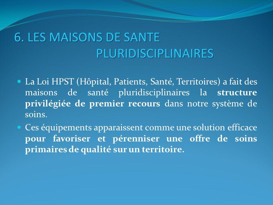6. LES MAISONS DE SANTE PLURIDISCIPLINAIRES La Loi HPST (Hôpital, Patients, Santé, Territoires) a fait des maisons de santé pluridisciplinaires la str