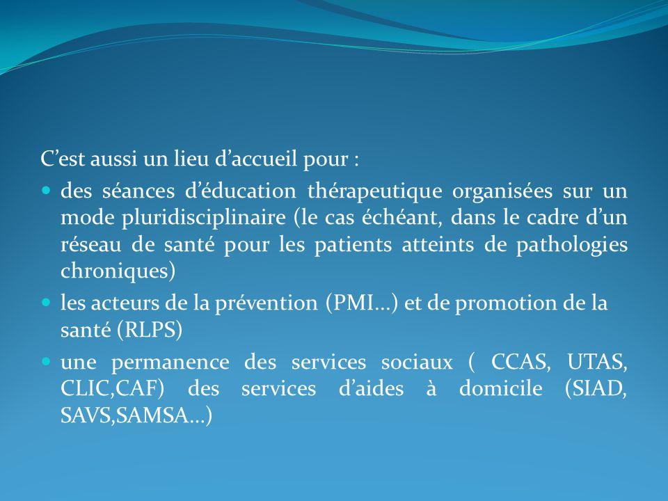 Cest aussi un lieu daccueil pour : des séances déducation thérapeutique organisées sur un mode pluridisciplinaire (le cas échéant, dans le cadre dun réseau de santé pour les patients atteints de pathologies chroniques) les acteurs de la prévention (PMI...) et de promotion de la santé (RLPS) une permanence des services sociaux ( CCAS, UTAS, CLIC,CAF) des services daides à domicile (SIAD, SAVS,SAMSA…)