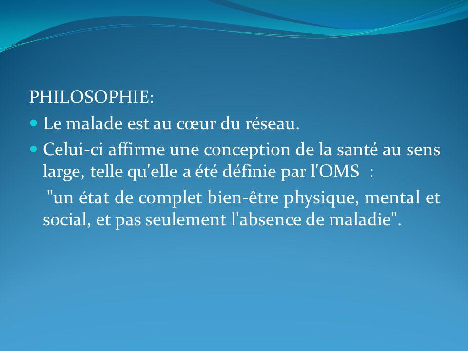 PHILOSOPHIE: Le malade est au cœur du réseau.