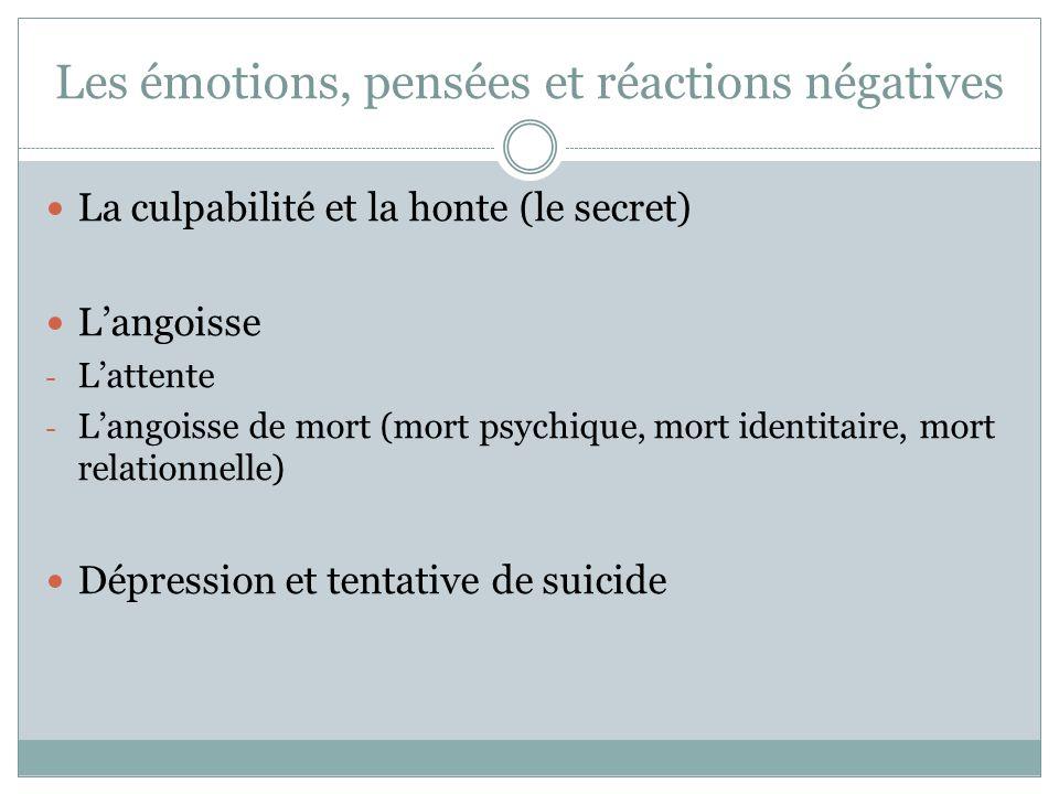 Les émotions, pensées et réactions négatives La culpabilité et la honte (le secret) Langoisse - Lattente - Langoisse de mort (mort psychique, mort ide