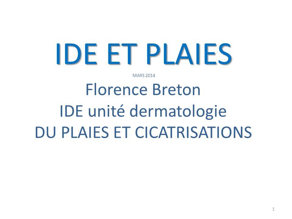 IDE ET PLAIES IDE ET PLAIES MARS 2014 Florence Breton IDE unité dermatologie DU PLAIES ET CICATRISATIONS 1