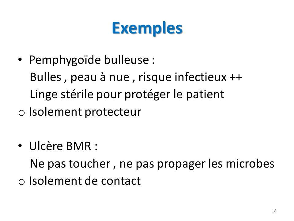 Exemples Pemphygoïde bulleuse : Bulles, peau à nue, risque infectieux ++ Linge stérile pour protéger le patient o Isolement protecteur Ulcère BMR : Ne