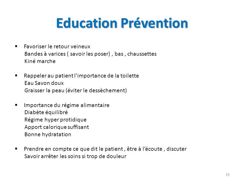 Education Prévention Favoriser le retour veineux Bandes à varices ( savoir les poser), bas, chaussettes Kiné marche Rappeler au patient limportance de