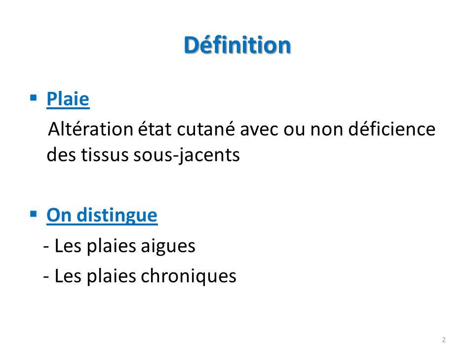 Définition Plaie Altération état cutané avec ou non déficience des tissus sous-jacents On distingue - Les plaies aigues - Les plaies chroniques 2