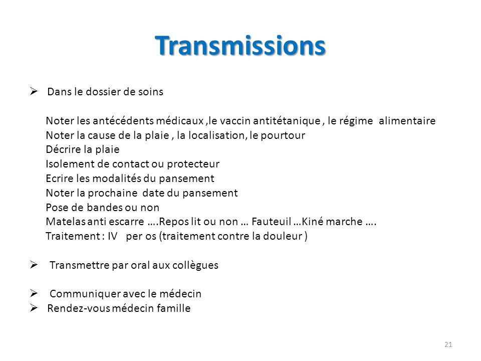 Transmissions Dans le dossier de soins Noter les antécédents médicaux,le vaccin antitétanique, le régime alimentaire Noter la cause de la plaie, la lo
