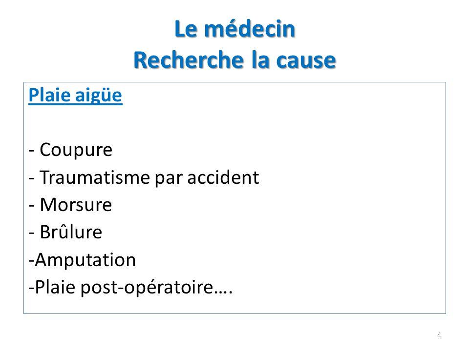 Le médecin Recherche la cause Plaie aigüe - Coupure - Traumatisme par accident - Morsure - Brûlure -Amputation -Plaie post-opératoire…. 4