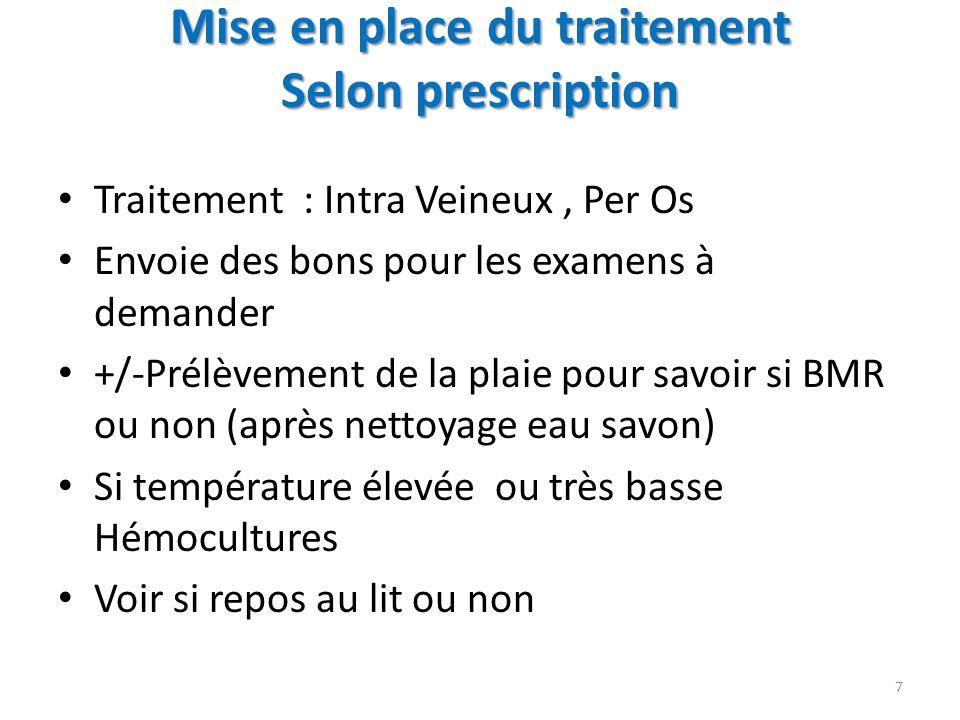 Mise en place du traitement Selon prescription Traitement : Intra Veineux, Per Os Envoie des bons pour les examens à demander +/-Prélèvement de la pla