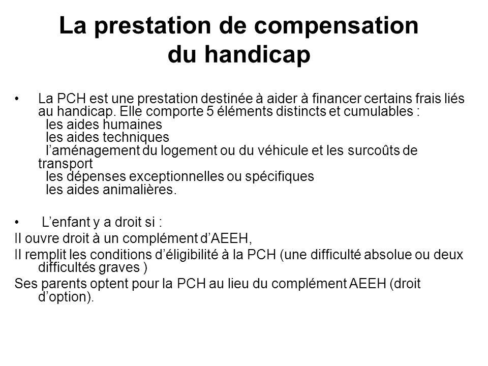 La prestation de compensation du handicap La PCH est une prestation destinée à aider à financer certains frais liés au handicap. Elle comporte 5 éléme