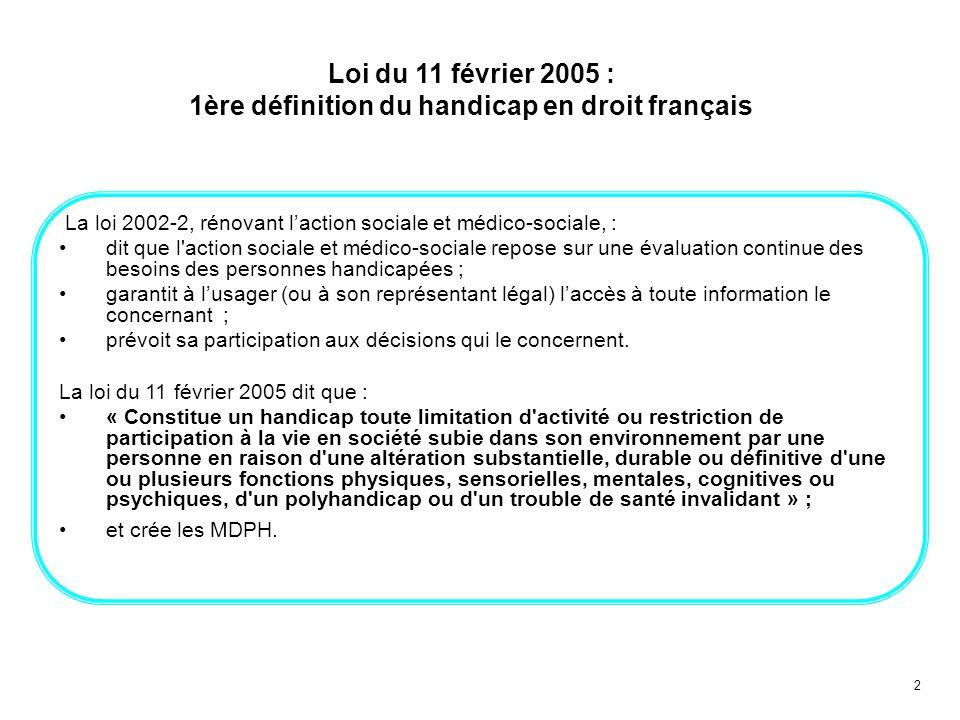 2 Loi du 11 février 2005 : 1ère définition du handicap en droit français La loi 2002-2, rénovant laction sociale et médico-sociale, : dit que l'action