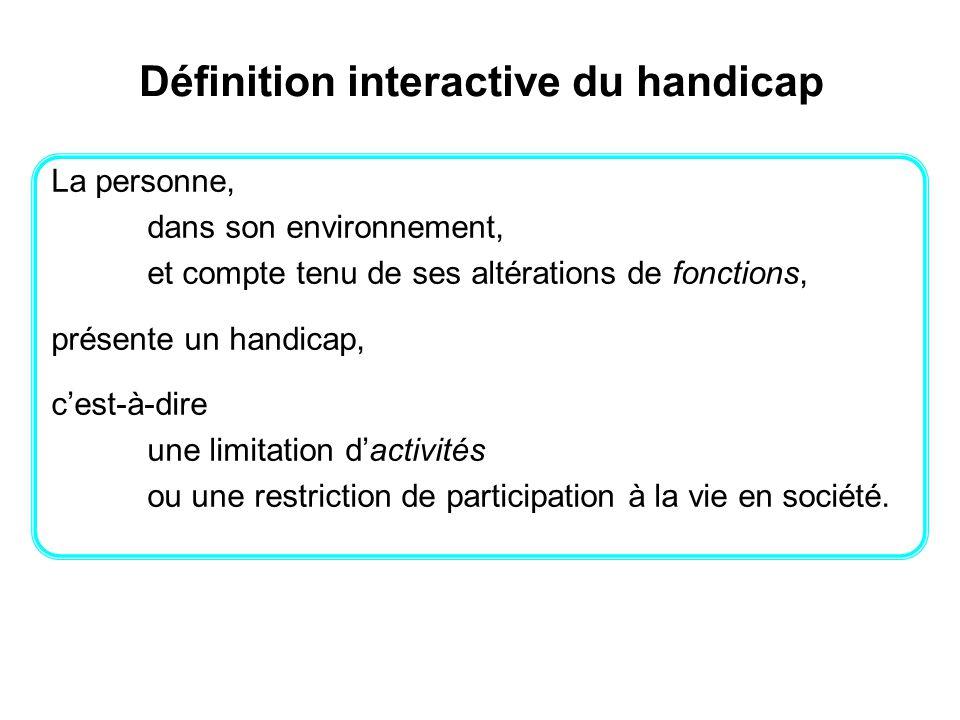 Définition interactive du handicap La personne, dans son environnement, et compte tenu de ses altérations de fonctions, présente un handicap, cest-à-d