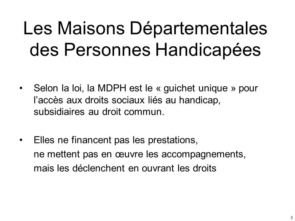 Les Maisons Départementales des Personnes Handicapées Selon la loi, la MDPH est le « guichet unique » pour laccès aux droits sociaux liés au handicap,